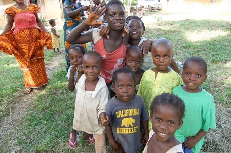 Children in Sayuo, one of the villages that has donated land to the Dougbe River school project.